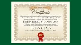 """PRESS GLASS Liderem Rynku Stolarki 2014 Przemysł, BIZNES - Firma PRESS GLASS została uhonorowana tytułem """"Lidera Rynku Stolarki 2014"""" w kategorii """"dostawca szyb zespolonych"""". To prestiżowe wyróżnienie przyznawane jest corocznie przez Centrum Analiz Branżowych (CAB)."""