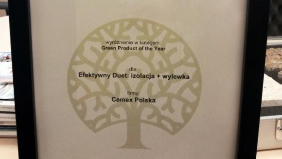 """Nagroda Green Building Award dla CEMEX Przemysł, BIZNES - Rozwiązanie """"Efektywny Duet izolacja i wylewka"""", czyli dwa produkty z portfolio CEMEX – Insularis Piano oraz Anhylevel – zostały nagrodzone w Konkursie Green Building Awards"""