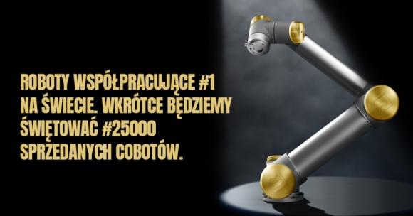 W drodze po złoto: do wygrania złoty cobot Universal Robots Przemysł, BIZNES - Universal Robots świętuje okrągłą liczbę cobotów na rynku – klient, który zamówi 25 000 robota UR, otrzyma unikalny, złoty model