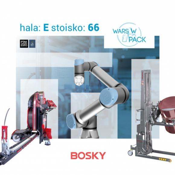 Roboty Universal Robots na targach Warsaw Pack: stoisko BOSKY Przemysł, BIZNES - Universal Robots - pionier i lider na rynku robotów współpracujących - zaprasza na stoisko partnera, Grupy BOSKY, podczas targów Warsaw Pack w dniach 5 - 7 marca.