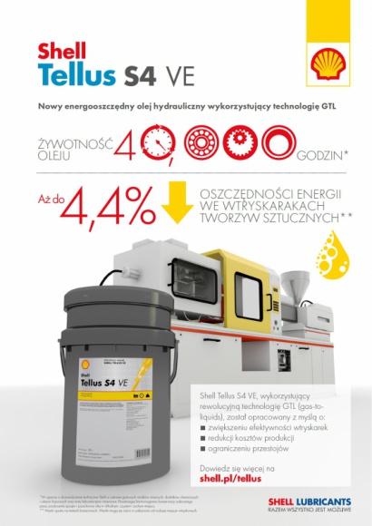 Shell Tellus S4 VE – nowy olej do wtryskarek tworzyw sztucznych Przemysł, BIZNES - Shell Lubricants wprowadził na rynek syntetyczny olej hydrauliczny Shell Tellus S4 VE.